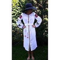 Дизайнерское вышиванка-платье белое с черными петухами, фото 1