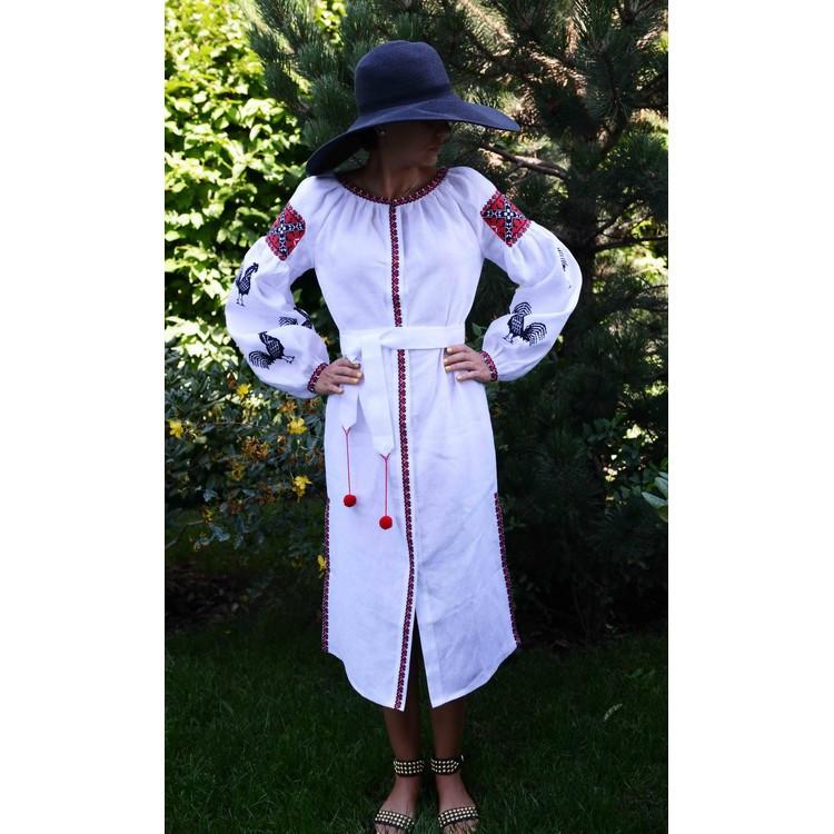 Дизайнерское вышиванка-платье белое с черными петухами - Интернет магазин