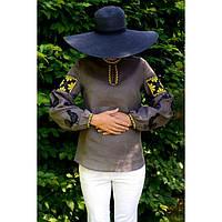 Женская вышиванка серая с черными петухами и желтой вышивкой, фото 1
