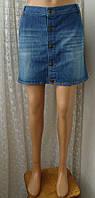 Юбка женская джинсовая модная прямая мини бренд George р.50 6010а