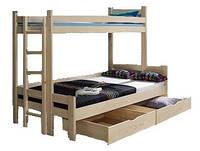 Кровать трехспальная Мира семейная из натурального дерева