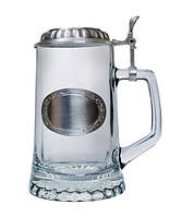 ARTINA Кружка пивная 93365, 0.5 л олово/стекло/овальный шильд под гравировку