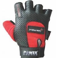 Красные перчатки для зала Power System на липучке