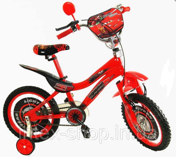 Велосипед 14« детский 141410-C со звонком, зеркалом, с вставками в колесах