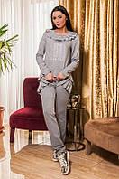 Женский модный спортивный костюм с рюшами и карманами