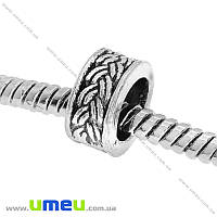 Бусина PANDORA мет. Косичка, 9х4,5 мм, Античное серебро, 1 шт (BUS-015161)