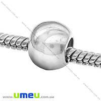 Бусина PANDORA пластиковая, 10х8 мм, Темное серебро, 1 шт (BUS-015168)