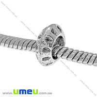 Бусина PANDORA мет., 10х4 мм, Античное серебро, 1 шт (BUS-015166)