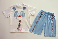 """Летний костюм """"Панда"""" для мальчика. 62, 68 см (6, 9 мес)"""