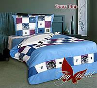 Двуспальное постельное белье Элит blue ТМ TAG простынь 200*220