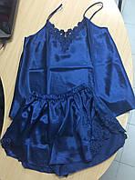 Красивая атласная женская пижама Jasmin синяя размер M,L, фото 1