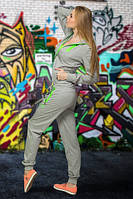 Спортивный костюм freever  св. серый с салатовым  7816