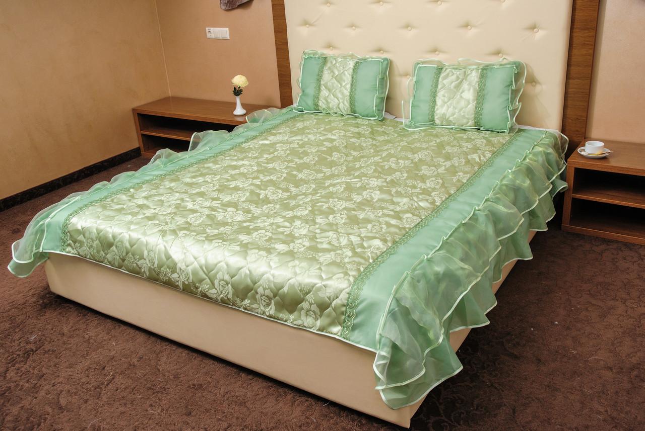 Покривало двоспальне на дві рюші + 2 подушки 50*70