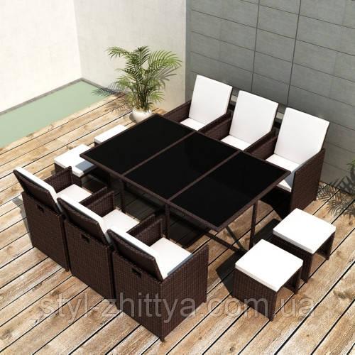 Комплект: стіл + 6 крісел + 4 табурети