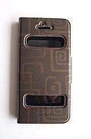 Чехол-книжка для Apple iPhone 5/5S, Flip Case, боковой c окном, кожаный с пластиковой вкладкой, Бронзовый