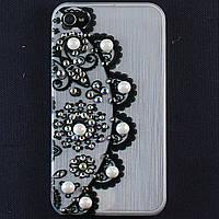 Чехол-накладка для Apple iPhone 4\4S, пластиковая со стразами, белая, YOUNICOU (12) /case/кейс /айфон