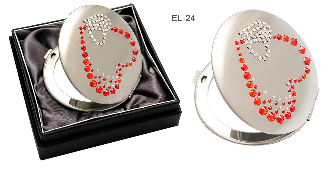 """Св.Зеркало EL-24 косм. """"Сердечки"""", кристаллы SW красные+белые"""
