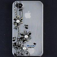 Чехол-накладка для Apple iPhone 4\4S, пластиковая со стразами, белая, YOUNICOU (8) /case/кейс /айфон