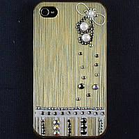 Чехол-накладка для Apple iPhone 4\4S, пластиковая со стразами, золотая, YOUNICOU (12) /case/кейс /айфон