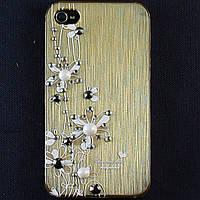 Чехол-накладка для Apple iPhone 4\4S, пластиковая со стразами, золотая, YOUNICOU (9) /case/кейс /айфон