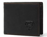 Мужской кожаный кошелек Superman. Натуральная кожа(В наличии черный)