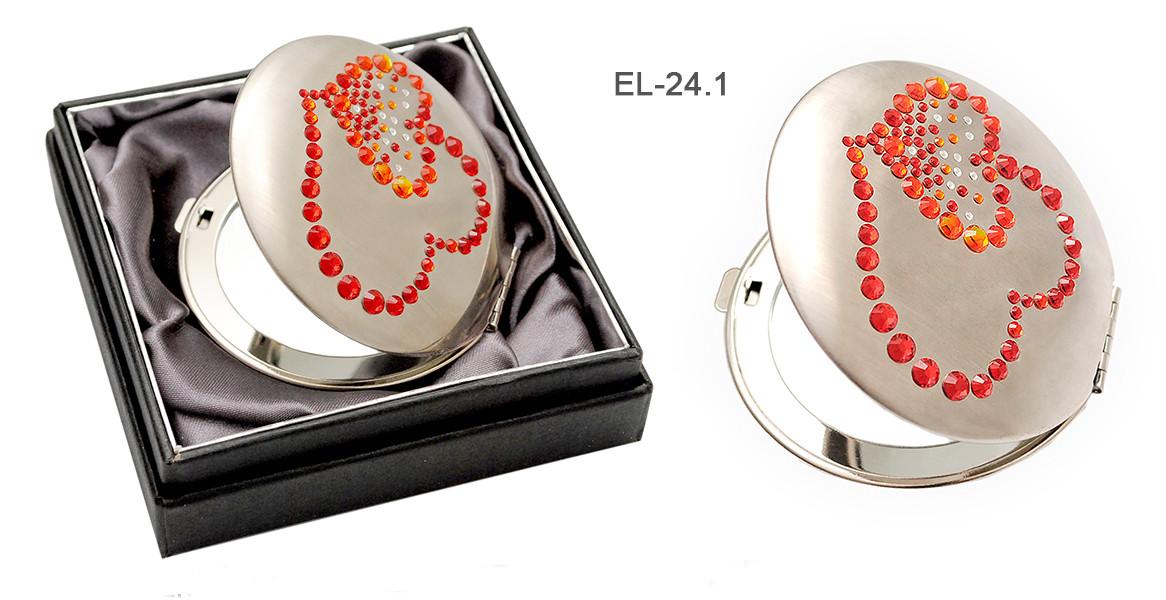 """Св.Зеркало EL-24.1 косм. """"Сердечки"""", кристаллы SW красные"""