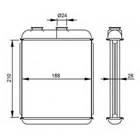 Радиатор печки Opel Astra G (метал) 210*180*25мм по сотах KEMP