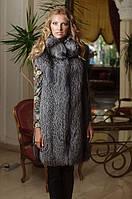 Жилет жилетка из цельной чернобурки (перфорация) Silverfox long vest, фото 1