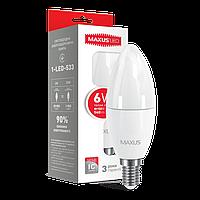LED лампа MAXUS C37 6W мягкий свет 220V E14 (1-LED-533)
