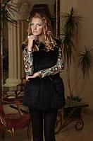 Жилет из черной лисы в роспуск  Black-dyed fox vest (skins are cut into stripes)