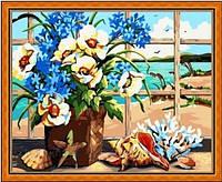 "Картина раскраска по номерам ""Цветы у моря"", MG048, 40х50см, фото 1"