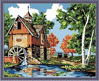 """Картина раскраска по номерам """"Водяная мельница"""", MG142, 40x50см, фото 1"""