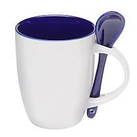 Керамическая чашка с ложкой Синяя