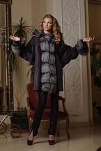 Шуба з мутону і чорнобурки кажан mouton and silver fox bat-shaped fur coat fur-coat