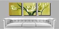 "Картина раскраска по номерам на холсте. Триптих ""Белые тюлюпаны"", 40х120см, MN3009, фото 1"
