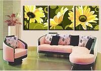 """Картина раскраска по номерам на холсте. Триптих """"Полевые цветы"""",  MT3008, 40х120см."""