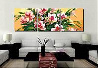 "Картина раскраска по номерам на холсте Триптих ""Розовые лилии"" 50х150см, фото 1"