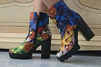 Женские супер-модные цветные тканевые ботильоны на тракторной подошве с каблуком . Арт-0428, фото 1