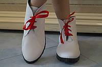 Женские стильные кожаные белые ботинки на шнуровке. Арт-0430