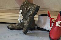 Женские стильные кожаные ботинки рептилия на шнуровке. Арт-0432