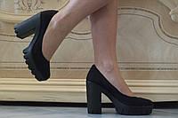 Стильные черные замшевые туфли на каблуке и тракторной подошве. АРТ-0440, фото 1