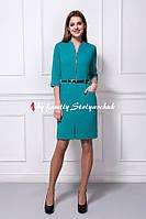 Платье мод. 355-4 офисное голубое мятное