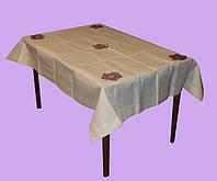 Скатерть кремовая с сиреневыми цветами, фото 1