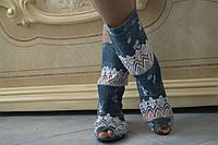 Сапожки женские джинсовые с открытым носком в клетку. Арт-0442