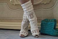 Сапожки женские белые рюшики с открытым носком. Арт-0447