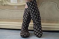 Женские демисезонные коричневые сапожки в стиле Луи Витон . Арт-0454, фото 1