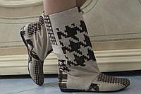 Женские демисезонные бежевые сапожки с орнаментом . Арт-0455, фото 1