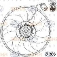 Вентилятор радiатора Opel Combo 1,4 16V (2004-2011) з кондиціонером
