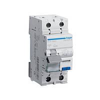 Дифференциальный автоматический выключатель 1+N, 10A, 30 mA, B, 6 КА, A, 2м Hager