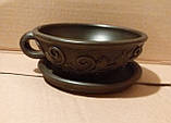 Чашка глиняна чайна піала Калина з блюдцем, фото 2